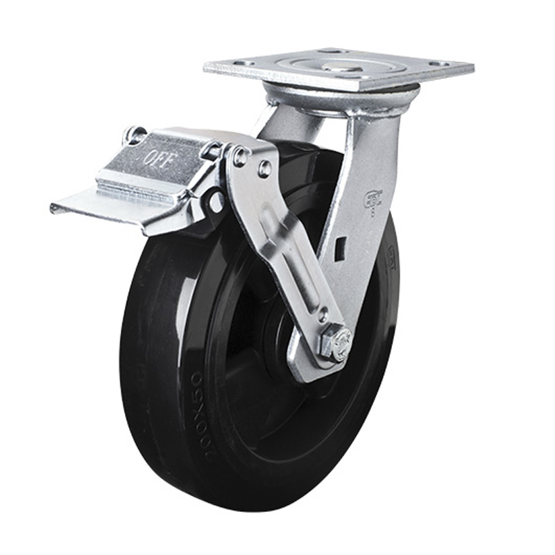 EDL Heavy 8'' 420kg Plate Iron Wheel Brake PU Caster 73128E-738-66/E