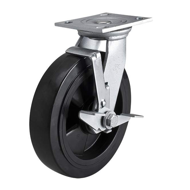 EDL Heavy 8'' 420kg Plate Side Wheel Brake PU Caster 73128C-738-66/C