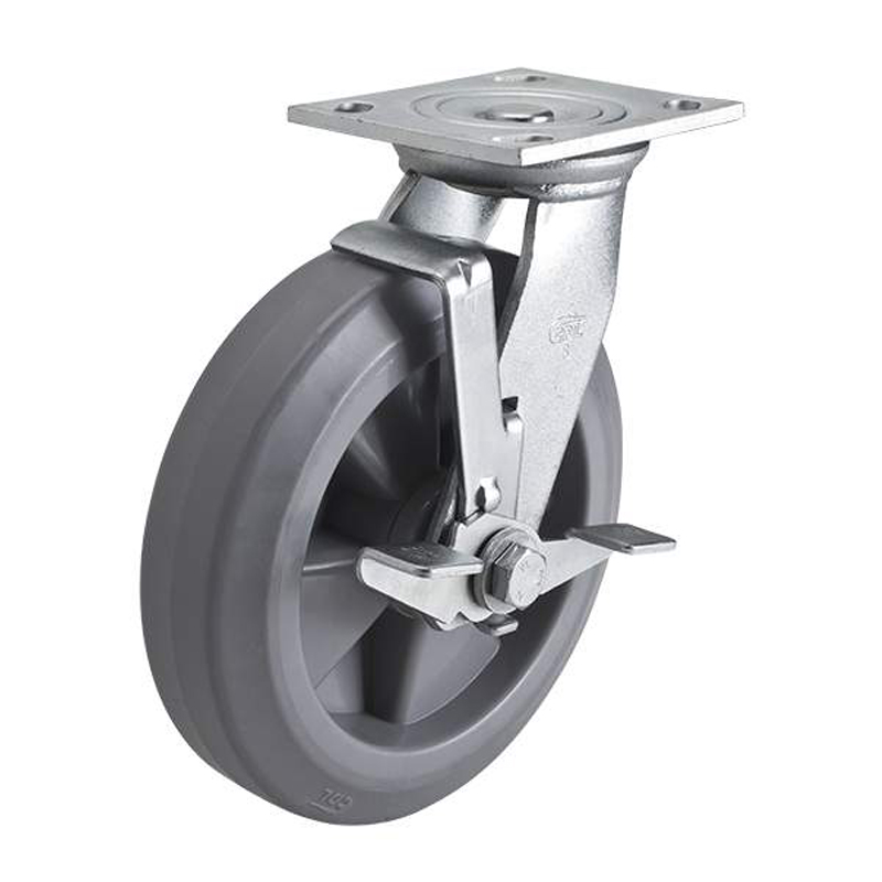 EDL Heavy 8'' 400kg Plate Side Wheel Brake TPE Caster 73128C-738-56/C