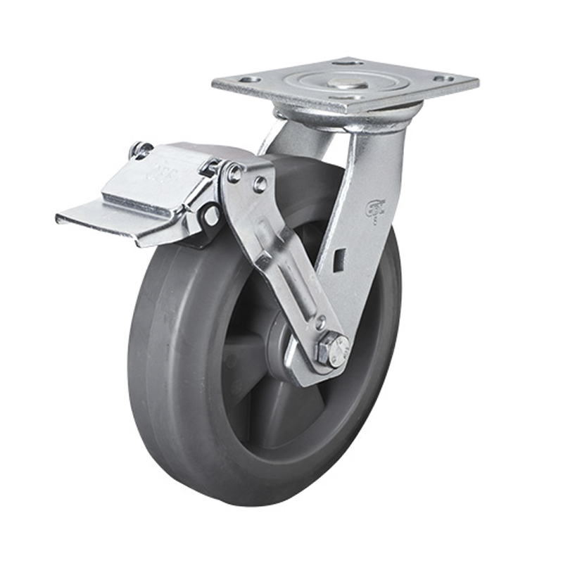 EDL Heavy 8'' 400kg Plate Iron Wheel Brake TPE Caster 73128E-738-56/E