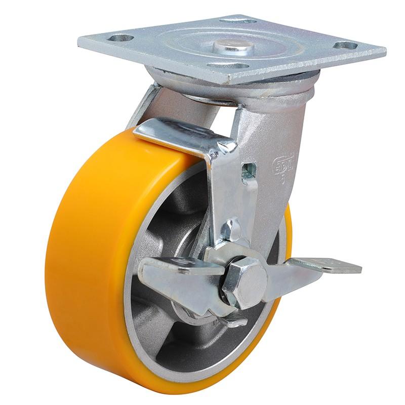 易得力重型5英寸400kg万向侧刹高强度聚氨酯铝芯(TPU)亚博体育苹果下载70125C-705-86A/C
