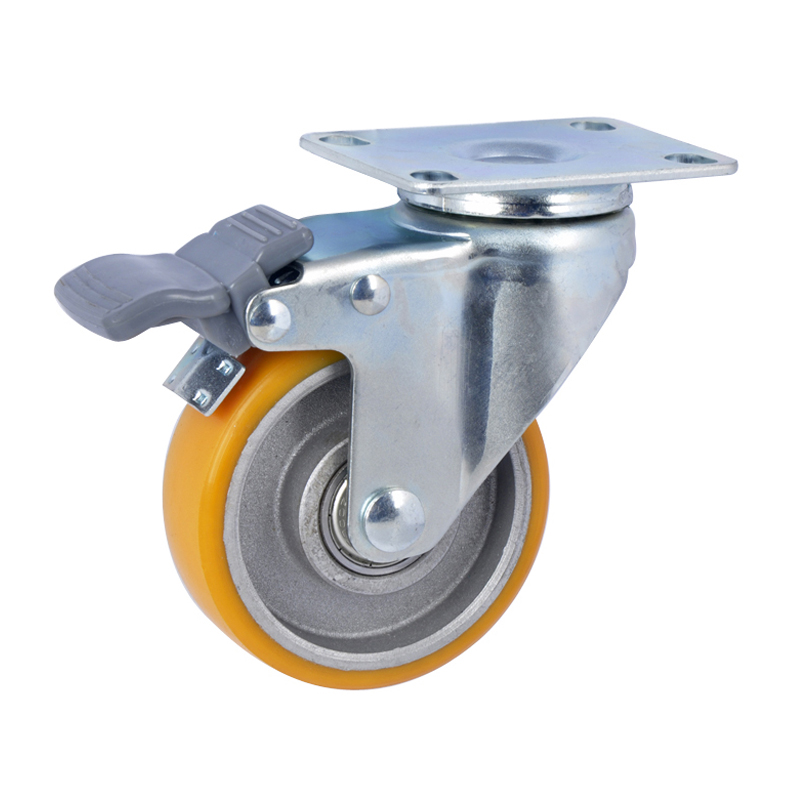 EDL Light 3'' 80kg Plate Brake TPU Caster 36123H-363-86A