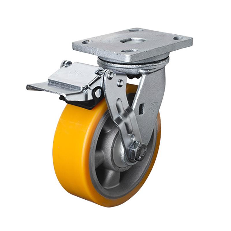 易得力重型6英寸750kg铁轮刹高强度聚氨酯铝芯(TPU)亚博体育苹果下载 78126E-786-86A/E