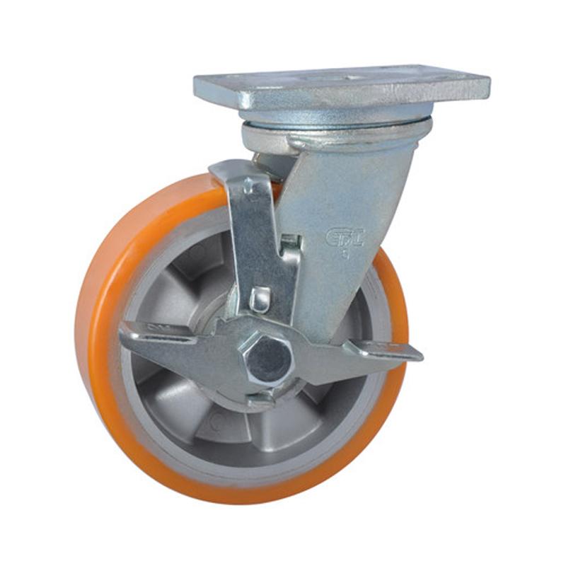 易得力重型5英寸700kg万向侧刹高强度聚氨酯铝芯(TPU)亚博体育苹果下载 78125C-785-86A/C