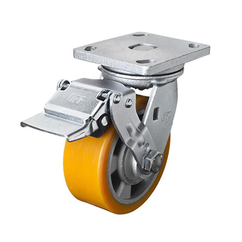 易得力重型5英寸700kg平顶铁轮刹高强度聚氨酯铝芯(TPU)亚博体育苹果下载 78125E-785-86A/E