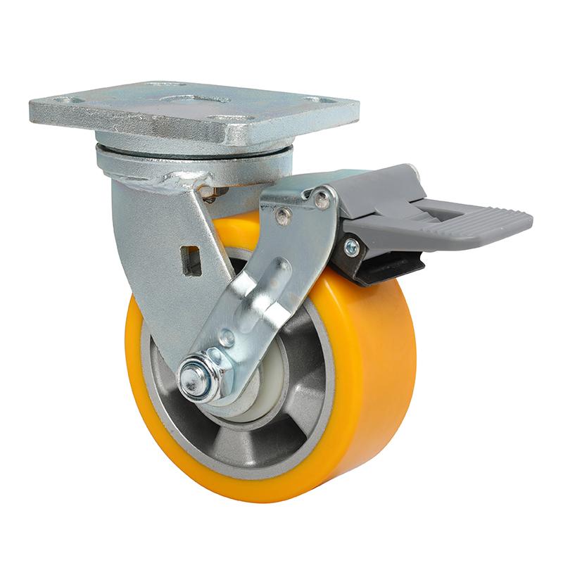 易得力重型5英寸700kg平顶塑轮刹高强度聚氨酯铝芯(TPU)亚博体育苹果下载 78125F-785-86A/F