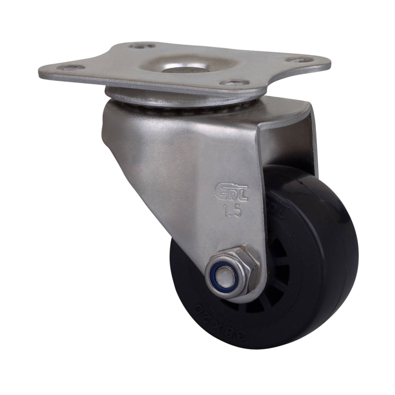 易得力不锈钢小型1.5英寸35kg平顶万向聚氨酯PU亚博体育苹果下载S267115-S2615-63