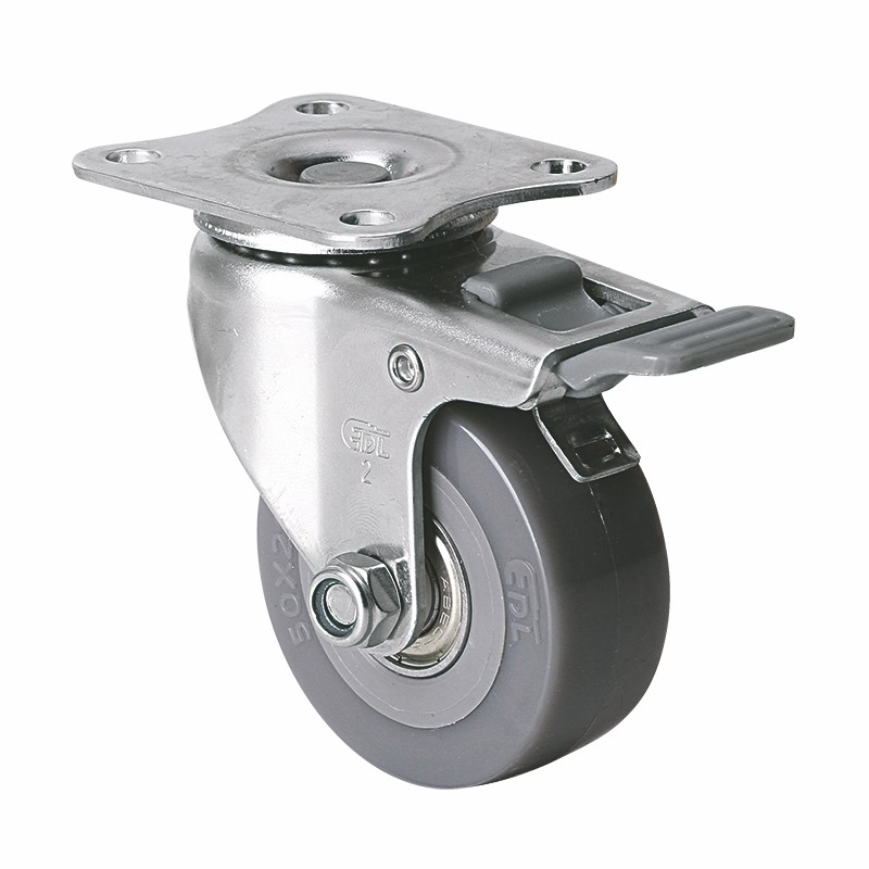 易得力不锈钢小型2英寸40kg平顶塑双刹聚氨酯PU亚博体育苹果下载S26722H-S262-76