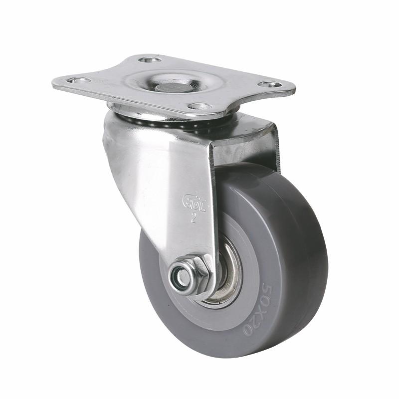 易得力不锈钢小型2英寸40kg平顶万向聚氨酯PU亚博体育苹果下载S26712-S262-76