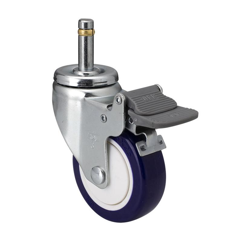 易得力轻型3英寸80kg插杆刹车高强度聚氨酯TPU亚博体育苹果下载37163H-373-87