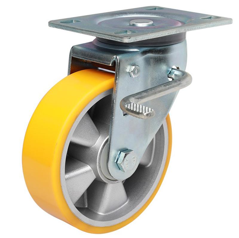 易得力重型6英寸430kg万向侧双刹高强度聚氨酯铝芯(TPU)亚博体育苹果下载 77126K-706-86A/M12X80