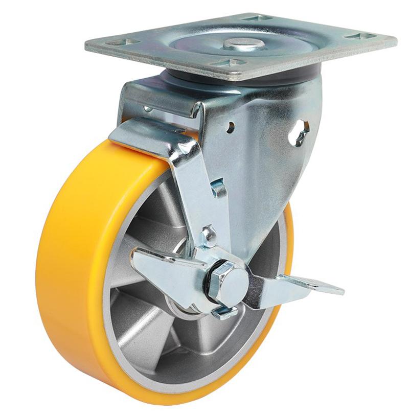 易得力重型8英寸450kg万向侧刹高强度聚氨酯铝芯(TPU)亚博体育苹果下载 77128C-708-86A/C/M12X80