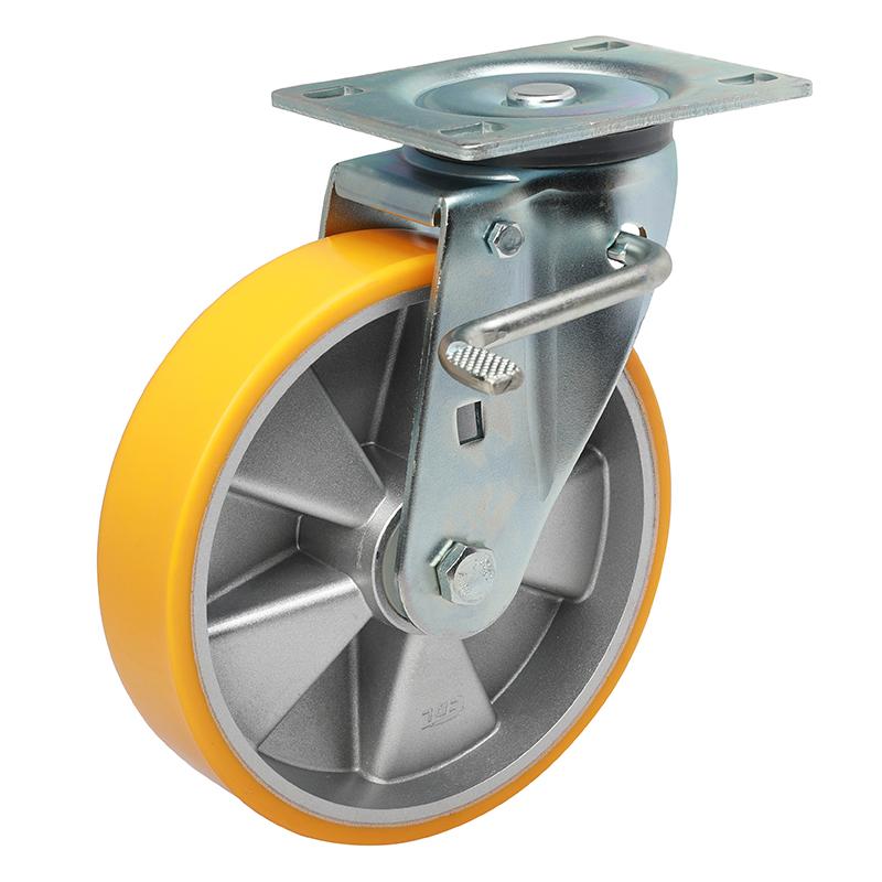 易得力重型8英寸450kg万向侧双刹高强度聚氨酯铝芯(TPU)亚博体育苹果下载 77128K-708-86A/M12X80