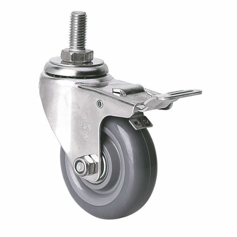 EDL Stainless Steel Light 3'' 70kg Threaded Brake PU Caster S34743L-S343-76