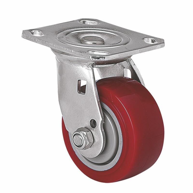 易得力不锈钢重型4英寸350Kg平顶万向高强度聚氨酯TPU亚博体育苹果下载S71714-S714-86