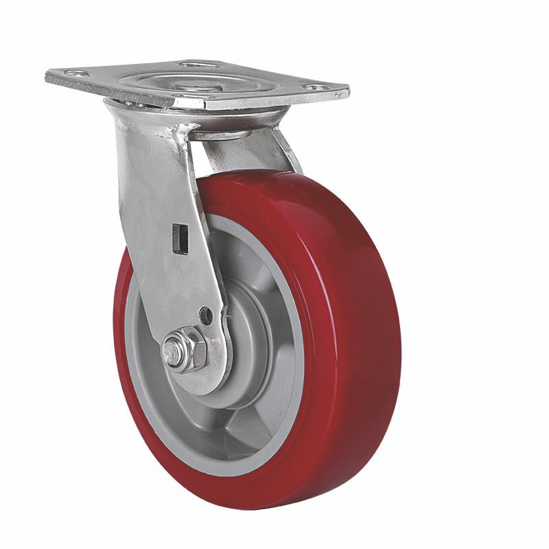 易得力不锈钢重型6英寸420Kg平顶万向高强度聚氨酯TPU亚博体育苹果下载S71716-S716-86