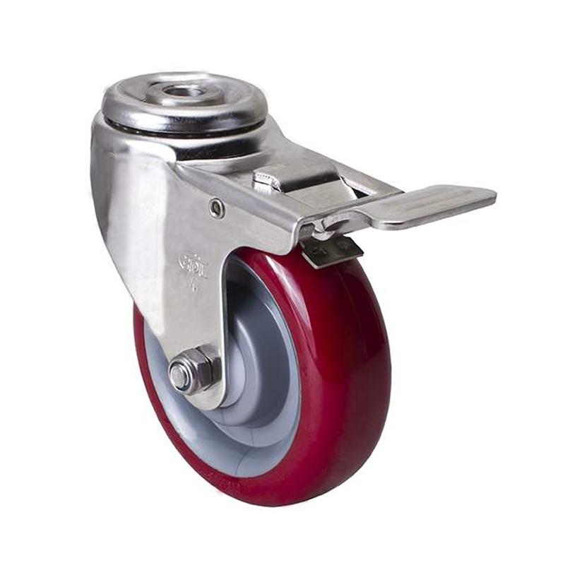 易得力不锈钢中型4英寸150kg空颈刹车聚氨酯TPU亚博体育苹果下载S54784L-S544-85
