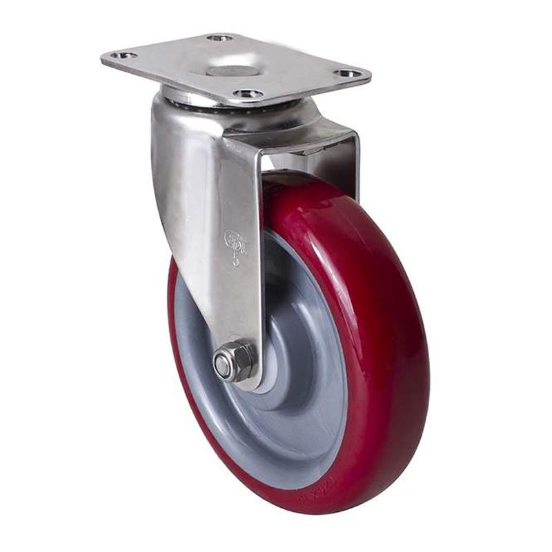 易得力不锈钢中型5英寸150kg平顶万向聚氨酯TPU亚博体育苹果下载S54715-S545-85