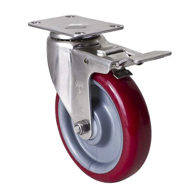 易得力不锈钢中型5英寸150kg平顶刹车聚氨酯TPU亚博体育苹果下载S54725L-S545-85