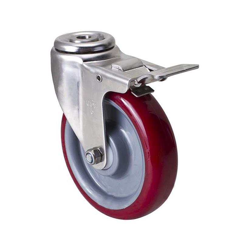 易得力不锈钢中型5英寸150kg空颈刹车聚氨酯TPU亚博体育苹果下载S54785L-S545-85