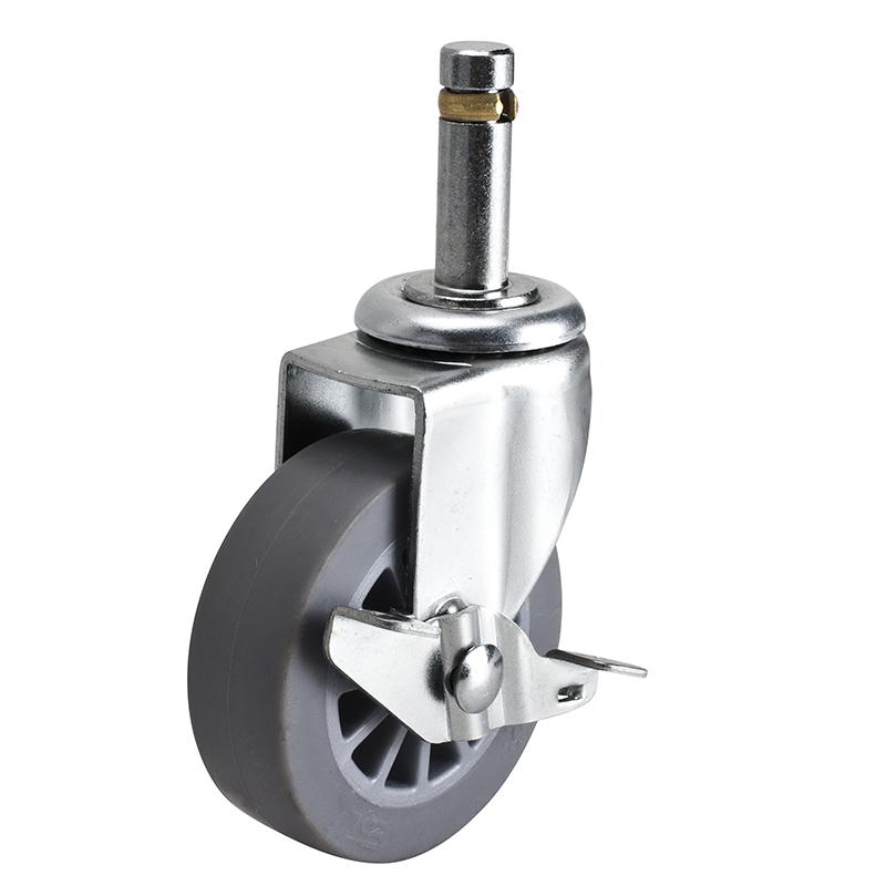 易得力小型2.5英寸30kg插杆轴刹人造胶TPE亚博体育苹果下载261625A-2625-52/A