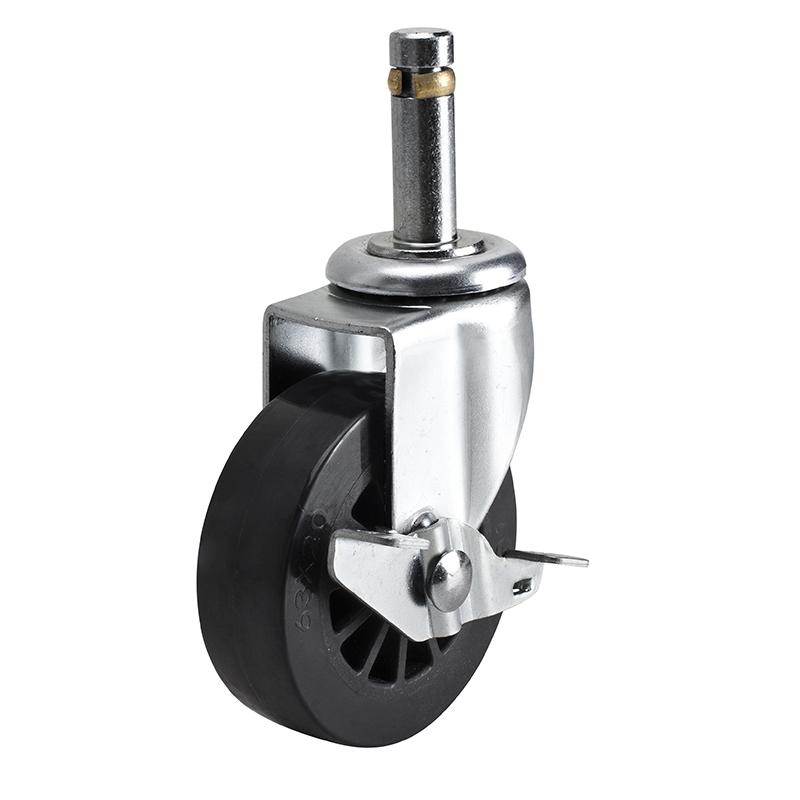 易得力小型2.5英寸30kg插杆轴刹聚氨酯PU亚博体育苹果下载261625A-2625-62/A