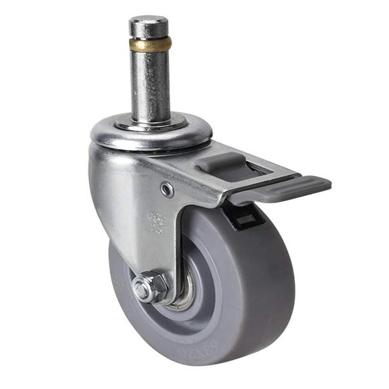 易得力小型2.5英寸35kg插杆塑双刹人造胶TPE亚博体育苹果下载261625H-2625-56