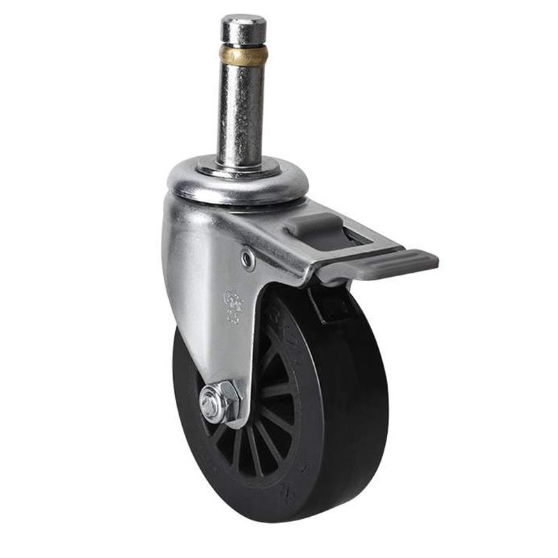 易得力小型2.5英寸30kg插杆塑双刹聚氨酯亚博体育苹果下载261625H-2625-63