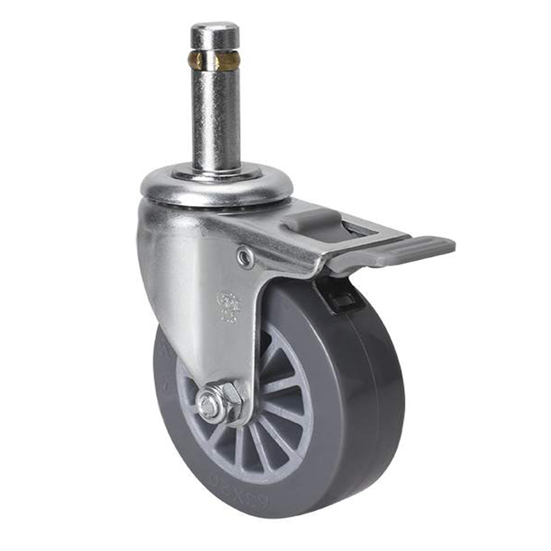 易得力小型2.5英寸35kg插杆塑双刹聚氨酯亚博体育苹果下载261625H-2625-73