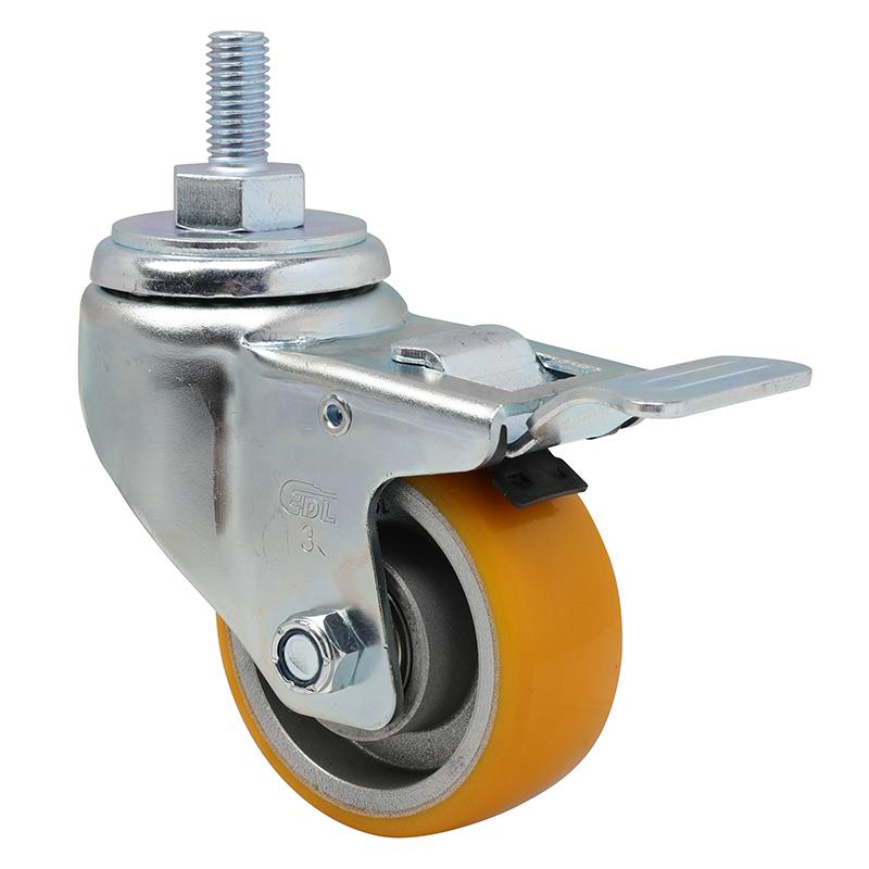 易得力中型3英寸150Kg丝杆铁双刹高强度聚氨酯TPU亚博体育苹果下载50143L-503-86A