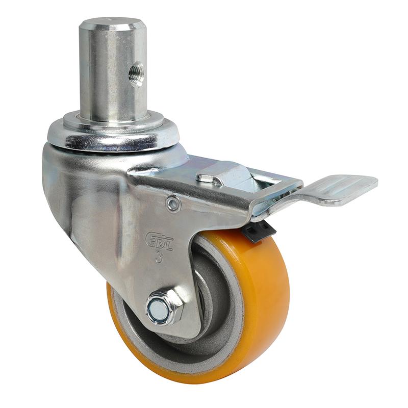 易得力中型3英寸150Kg插杆铁双刹高强度聚氨酯TPU亚博体育苹果下载50163L-503-86A