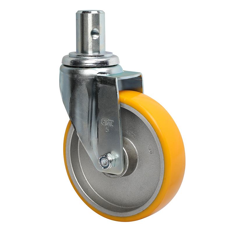 易得力中型5英寸150Kg插杆万向高强度聚氨酯TPU亚博体育苹果下载50155-505-86A