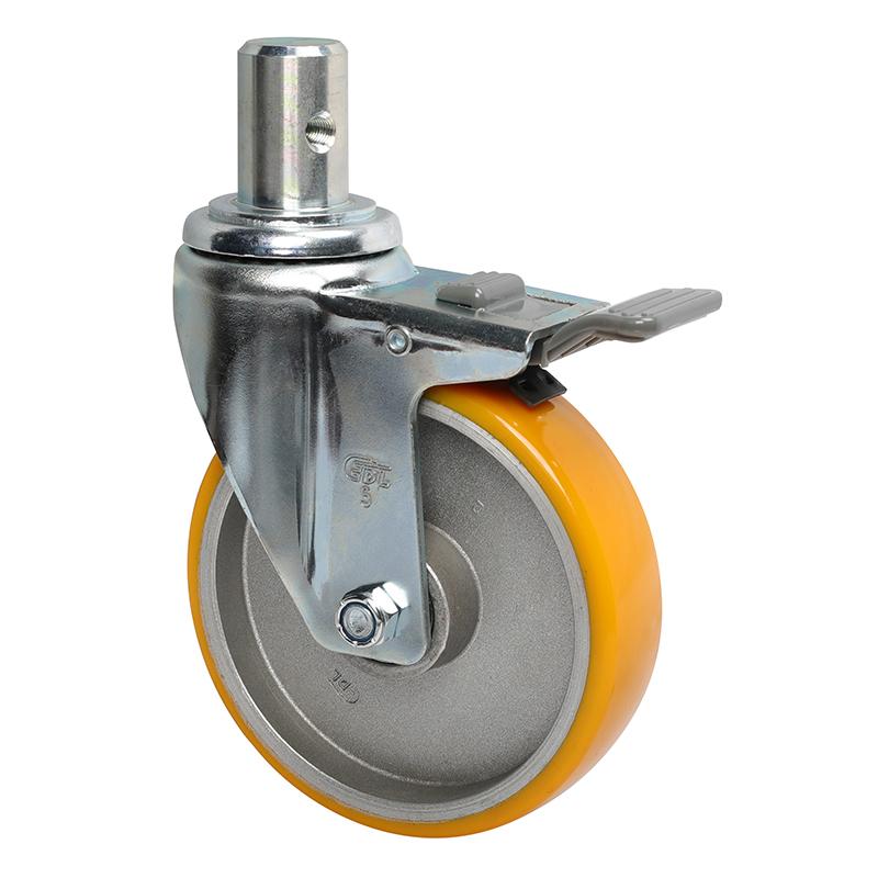 易得力中型5英寸150Kg插杆塑双刹高强度聚氨酯TPU亚博体育苹果下载50165H-505-86A