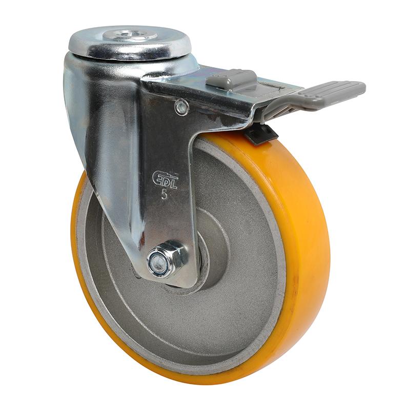 易得力中型5英寸150Kg空颈塑双刹高强度聚氨酯TPU亚博体育苹果下载50185H-505-86A