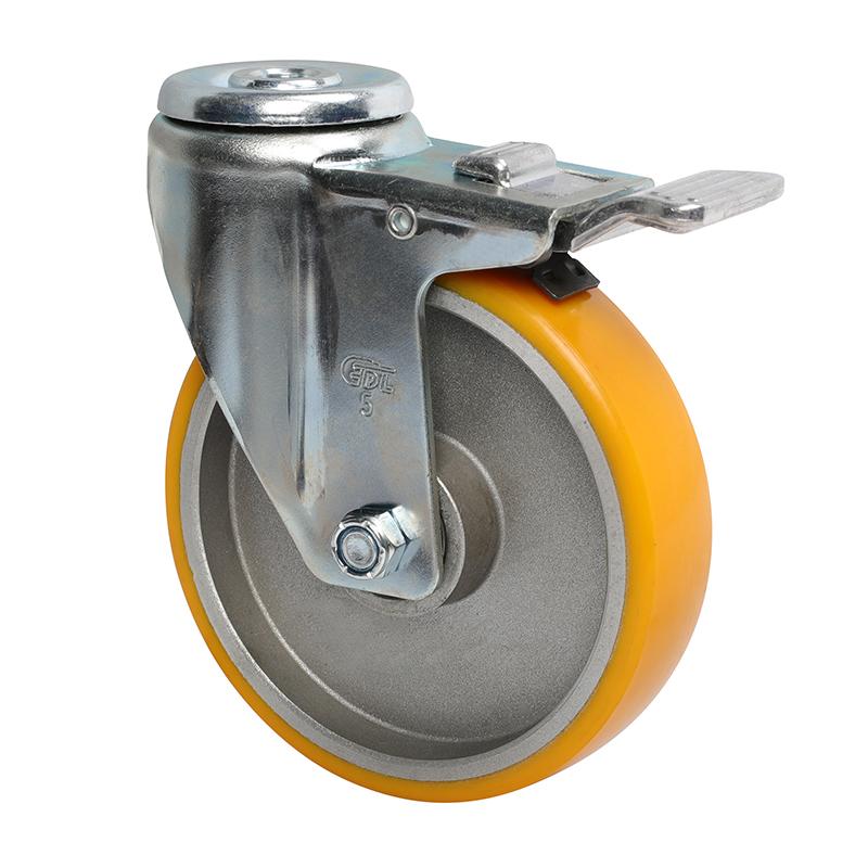 易得力中型5英寸150Kg空颈铝双刹高强度聚氨酯TPU亚博体育苹果下载50185P-505-86A
