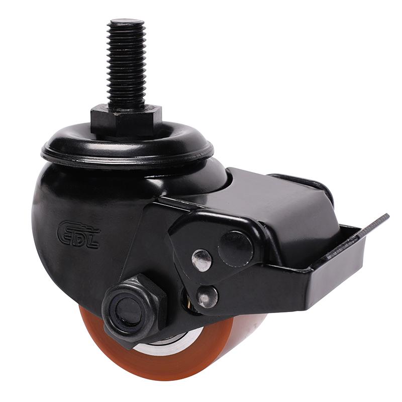 易得力低重心2寸250kg丝杆万向刹车高强度聚氨酯TPU设备亚博体育苹果下载M41342E-M412-86A