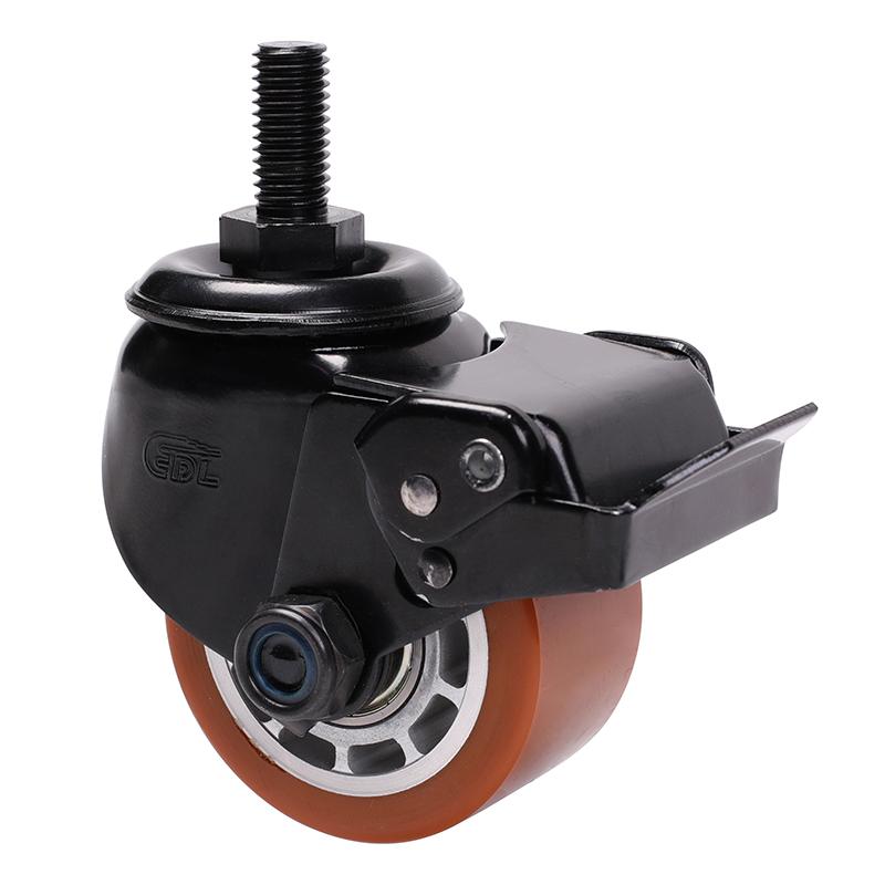 易得力低重心2.5寸300kg丝杆万向刹车高强度聚氨酯TPU设备亚博体育苹果下载M413425E-M4125-86A