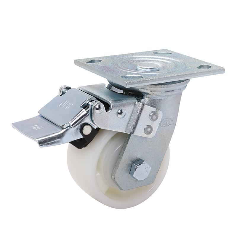 易得力重型4英寸380kg平顶万向铁双刹尼龙TPA亚博体育苹果下载 70124L-704-26