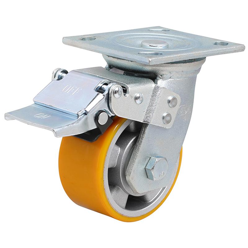 易得力重型4英寸400kg万向铁双刹高强度聚氨酯铝芯(TPU)亚博体育苹果下载70124L-704-86A