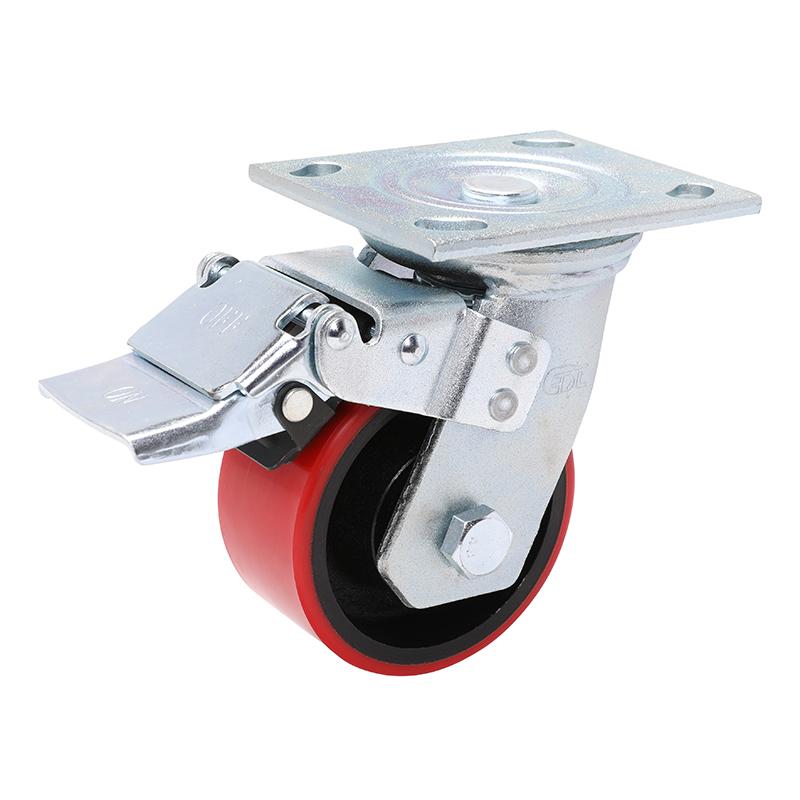 易得力重型4英寸380kg万向铁双刹高强度聚氨酯铁芯(TPU)亚博体育苹果下载70124L-704-86T