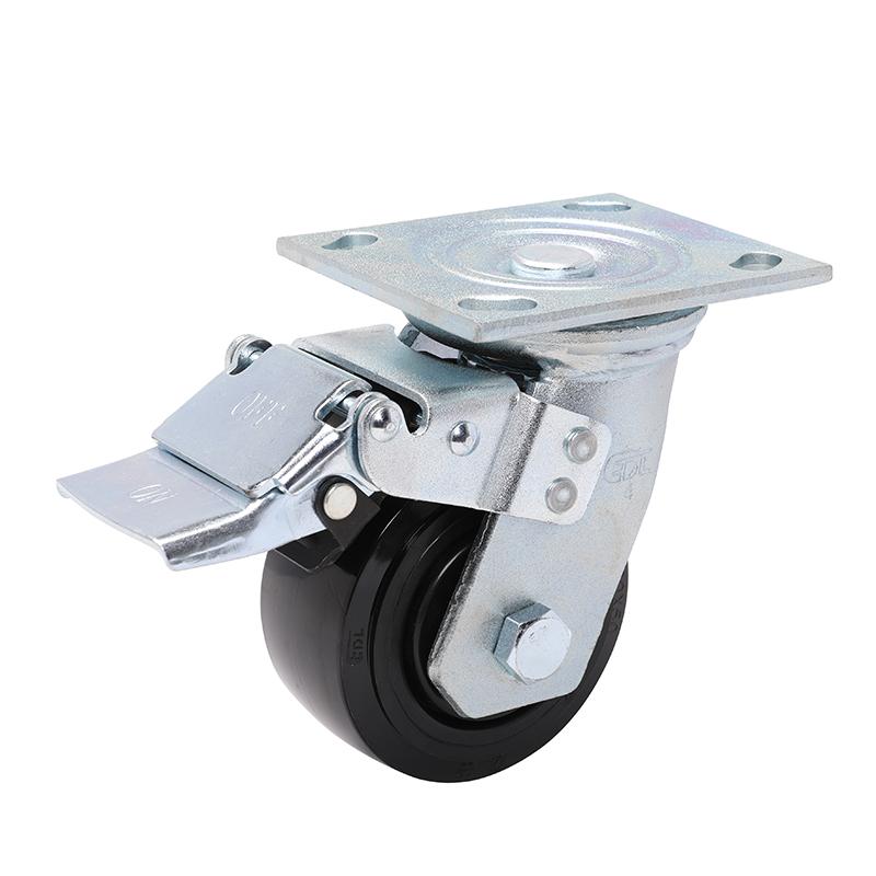 易得力重型4英寸320kg万向铁双刹聚氨酯(PU)亚博体育苹果下载 70124L-704-66