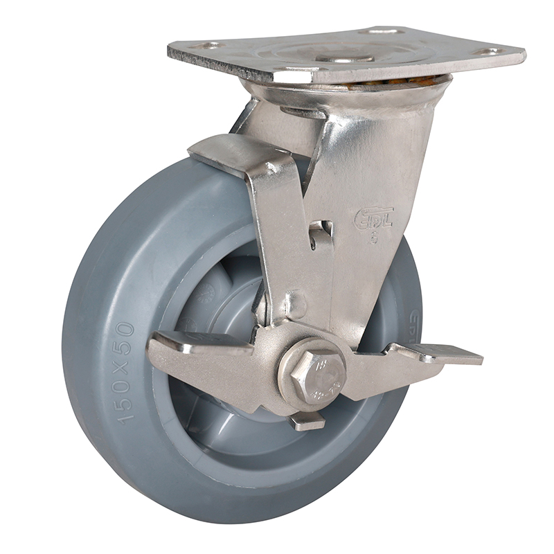 EDL Stainless Steel Heavy 6''350kg Plate Side Brake TPE Caster S71726C-S716-56/C