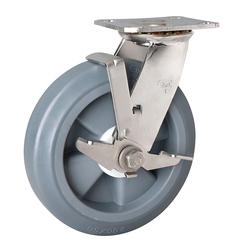 EDL Stainless Steel Heavy 8''400kg Plate Side Brake TPE Caster S71728C-S718-55/C