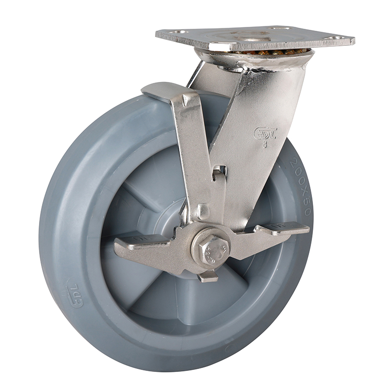 EDL Stainless Steel Heavy 8''400kg Plate Side Brake TPE Caster S71728C-S718-56/C